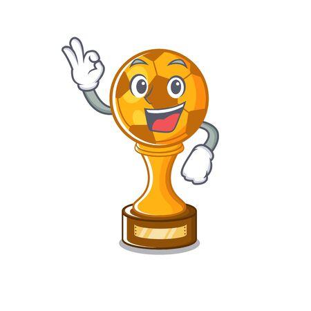 Okay soccer trophy with the mascot shape vector illustration Illusztráció