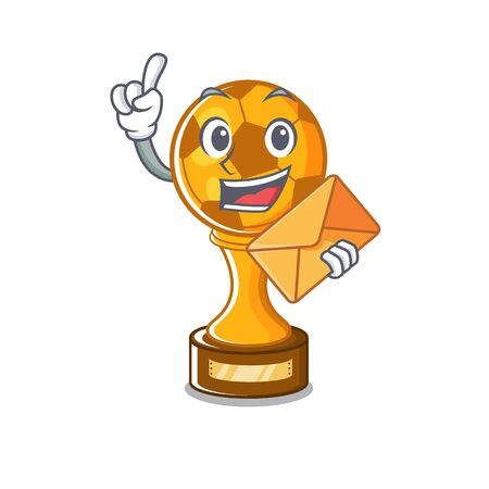 With envelope soccer trophy with the mascot shape vector illustration