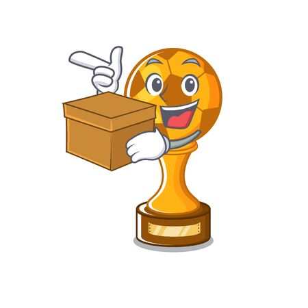With box soccer trophy with the mascot shape vector illustration Stock fotó - 129167454
