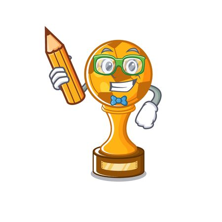 Student soccer trophy with the mascot shape vector illustration