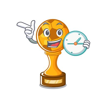 With clock soccer trophy with the mascot shape vector illustration