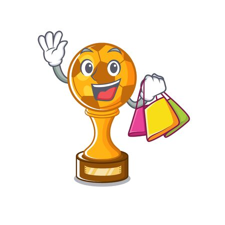 Shopping soccer trophy with the mascot shape vector illustration Stock fotó - 129167473