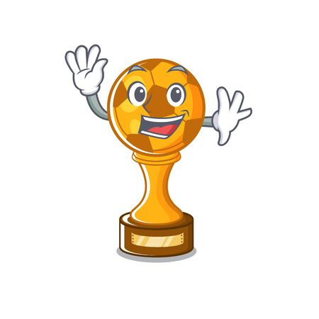 Waving soccer trophy with the mascot shape vector illustration