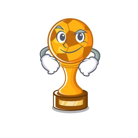 Smirking soccer trophy with the mascot shape vector illustration