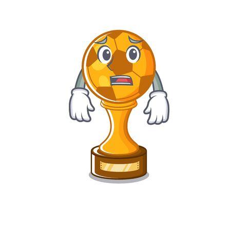 Afraid soccer trophy in the cartoon drawer vector illustration
