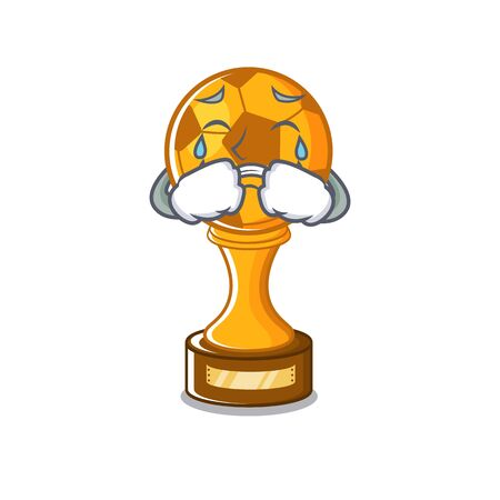 Crying soccer trophy in the cartoon drawer vector illustration