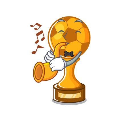 With trumpet soccer trophy in the cartoon drawer vector illustration