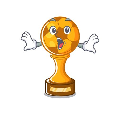 Surprised soccer trophy in the cartoon drawer vector illustration