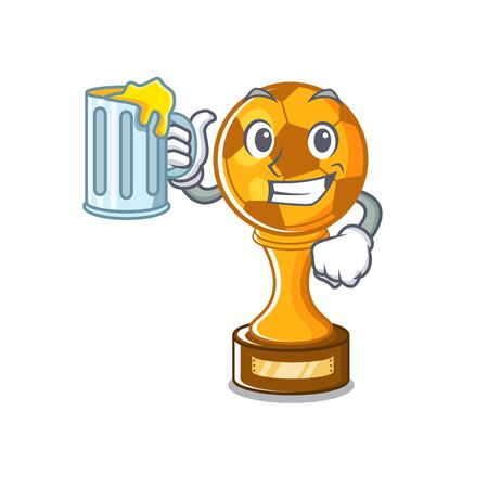 With juice soccer trophy in the cartoon drawer vector illustration Illustration