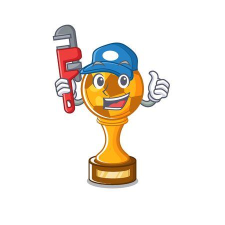 Plumber soccer trophy above cartoon wooden table vector illustration