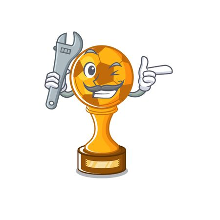 Mechanic soccer trophy above cartoon wooden table vector illustration