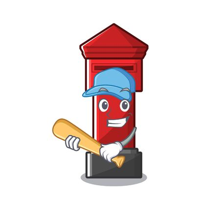 Playing baseball pillar box isolated with the cartoon illustration vector Illusztráció