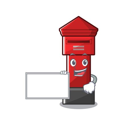 With board pillar box isolated with the cartoon illustration vector Illusztráció
