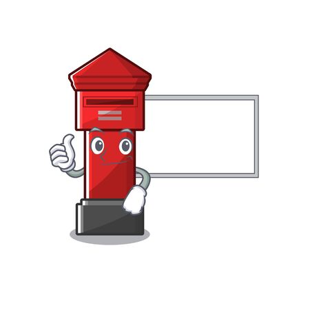 Thumbs up with board pillar box isolated with the cartoon illustration vector Illusztráció