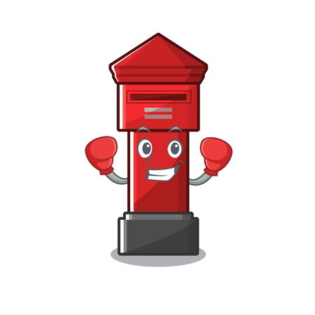 Boxing pillar box isolated with the cartoon illustration vector