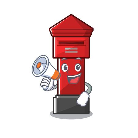 With megaphone pillar box isolated with the cartoon illustration vector Иллюстрация