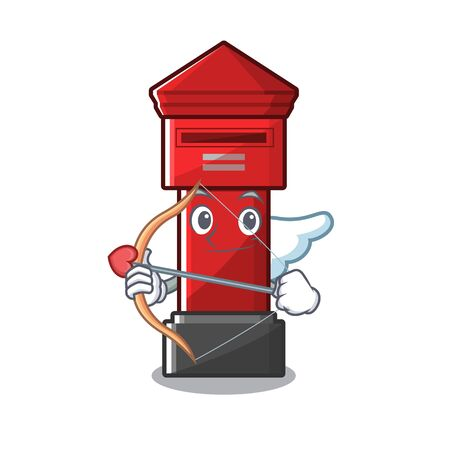 Cupid pillar box isolated with the cartoon illustration vector
