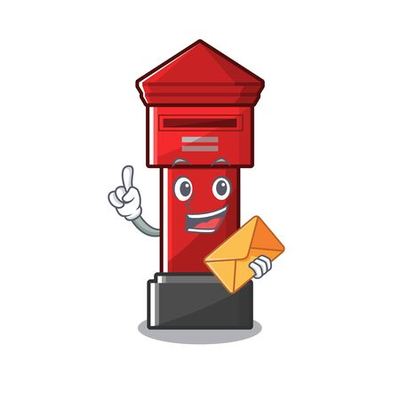 With envelope Pillar box sticks the character wall vector illustration Illustration