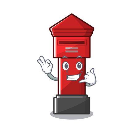 Call me pillar box on a cartoon highway vector illustration