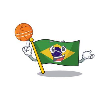 With basketball flag brazil in the cartoon shape vector illustration
