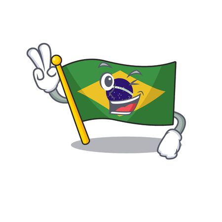 Two finger flag brazil isolated with the cartoon vector illustration