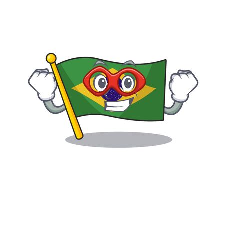 Super hero flag brazil isolated with the cartoon vector illustration
