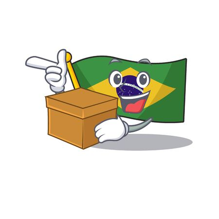 With box flag brazil isolated with the cartoon vector illustration