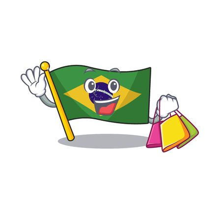 Shopping flag brazil isolated with the cartoon vector illustration
