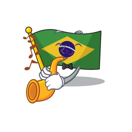 With trumpet brazil flag hoisted on character pole illustration vector