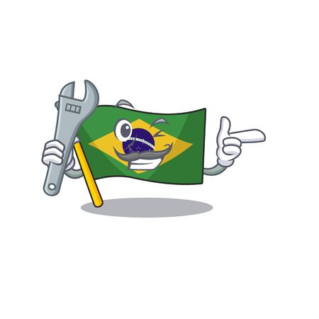Mechanic brazil flag kept in mascot drawer illustration vector