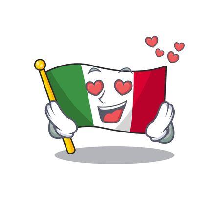 In love italy flags isolated wth the cartoon vector illustration Ilustração