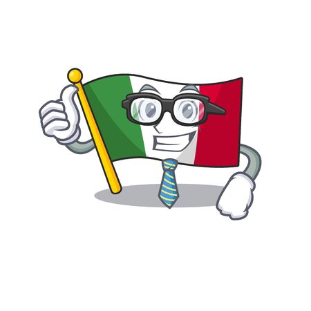 Businessman italy flags placed in cartoon tables illustration vector Stock Illustratie