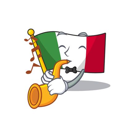 With trumpet italy flags isolated wth the cartoon vector illustration Иллюстрация