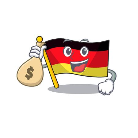 With money bag germany flag cartoon isolated the mascot vector illustration Stock Illustratie
