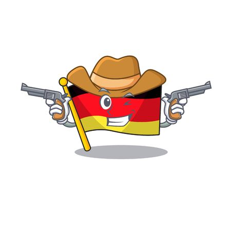 Cowboy germany flag cartoon isolated the mascot vector illustration Stock Illustratie