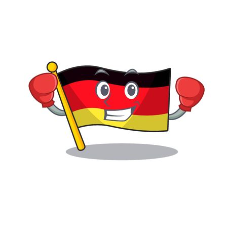 Boxing germany flag cartoon isolated the mascot vector illustration