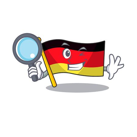 Detective germany flag flutter on cartoon pole vector illustration  イラスト・ベクター素材
