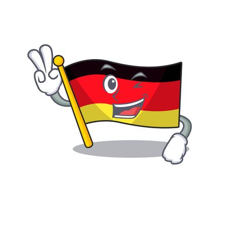 Two finger germany flag flutter on cartoon pole vector illustration