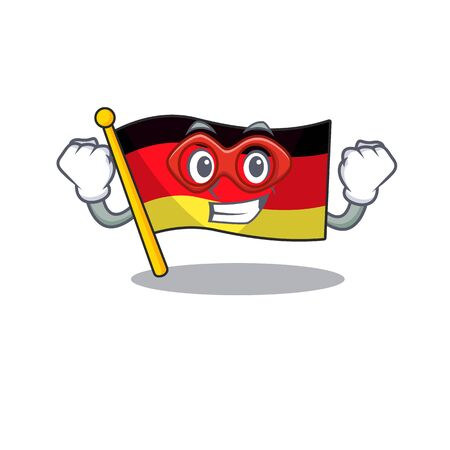 Super hero germany flag flutter on cartoon pole vector illustration Ilustracja