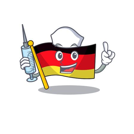 Nurse germany flag flutter on cartoon pole vector illustration Ilustracja