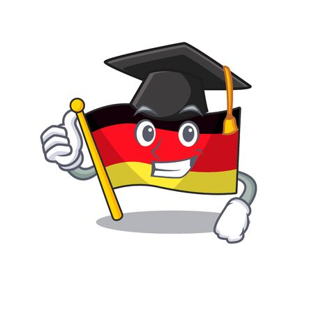 Graduation germany flag flutter on cartoon pole vector illustration
