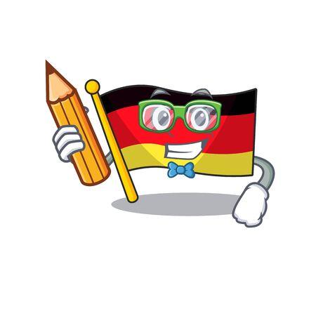 Student germany flag flutter on cartoon pole vector illustration Illustration
