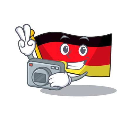 Photographer flag germany cartoon formed with character illustration vector Illustration