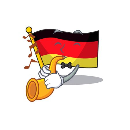 With trumpet flag germany cartoon formed with character illustration vector Иллюстрация