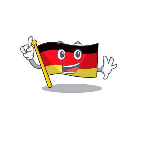 Finger flag germany mascot folded on cartoon table illustration vector Stock Illustratie