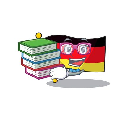 Student with book flag germany mascot folded on cartoon table illustration vector Иллюстрация