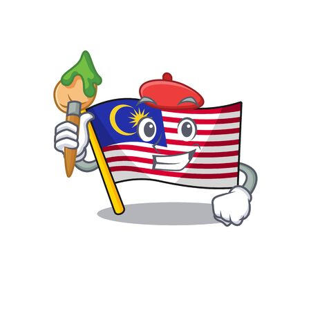 Artist flag malaysia in the cartoon shape vector illustration Illustration