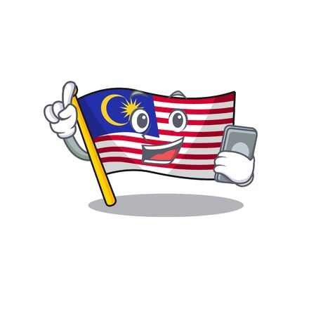 With phone flag malaysia in the cartoon shape vector illustration Çizim