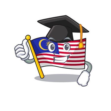 Graduation flag malaysia cartoon isolated with character vector illustration