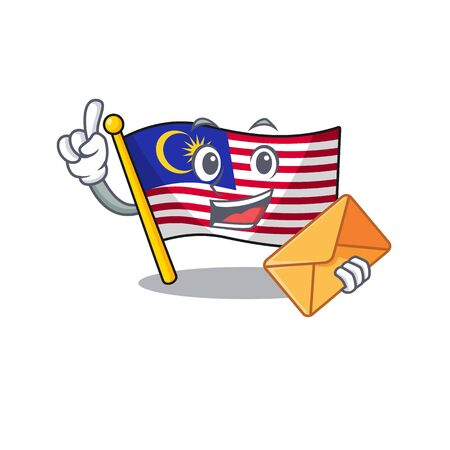 With envelope flag malaysia cartoon isolated with character vector illustration